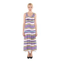 Colorful Wavy Stripes Pattern 7200 Sleeveless Maxi Dress