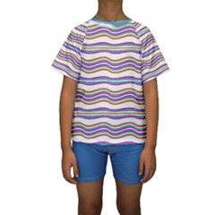 Colorful Wavy Stripes Pattern 7200 Kids  Short Sleeve Swimwear