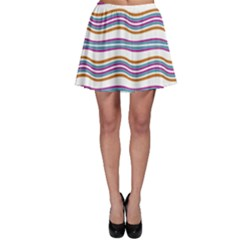 Colorful Wavy Stripes Pattern 7200 Skater Skirt