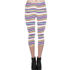 Colorful Wavy Stripes Pattern 7200 Capri Leggings