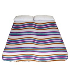 Colorful Wavy Stripes Pattern 7200 Fitted Sheet (queen Size)