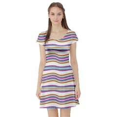 Colorful Wavy Stripes Pattern 7200 Short Sleeve Skater Dress