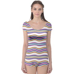 Colorful Wavy Stripes Pattern 7200 Boyleg Leotard