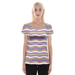 Colorful Wavy Stripes Pattern 7200 Cap Sleeve Tops