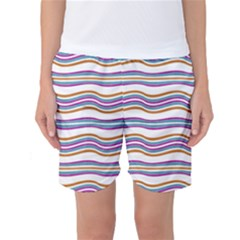 Colorful Wavy Stripes Pattern 7200 Women s Basketball Shorts
