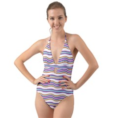 Colorful Wavy Stripes Pattern 7200 Halter Cut Out One Piece Swimsuit
