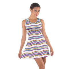 Colorful Wavy Stripes Pattern 7200 Cotton Racerback Dress