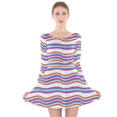 Colorful Wavy Stripes Pattern 7200 Long Sleeve Velvet Skater Dress