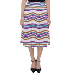 Colorful Wavy Stripes Pattern 7200 Folding Skater Skirt