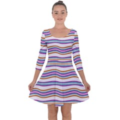 Colorful Wavy Stripes Pattern 7200 Quarter Sleeve Skater Dress