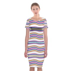Colorful Wavy Stripes Pattern 7200 Classic Short Sleeve Midi Dress