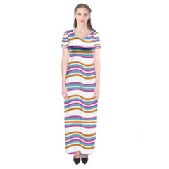 Colorful Wavy Stripes Pattern 7200 Short Sleeve Maxi Dress