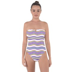 Colorful Wavy Stripes Pattern 7200 Tie Back One Piece Swimsuit
