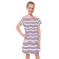 Colorful Wavy Stripes Pattern 7200 Kids  Drop Waist Dress