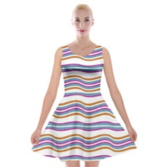Colorful Wavy Stripes Pattern 7200 Velvet Skater Dress
