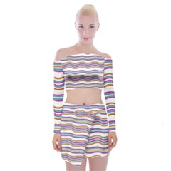 Colorful Wavy Stripes Pattern 7200 Off Shoulder Top With Mini Skirt Set