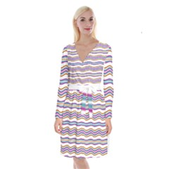 Colorful Wavy Stripes Pattern 7200 Long Sleeve Velvet Front Wrap Dress