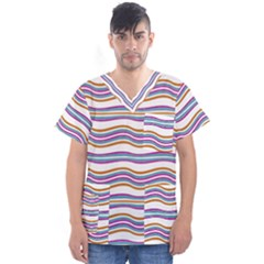 Colorful Wavy Stripes Pattern 7200 Men s V Neck Scrub Top