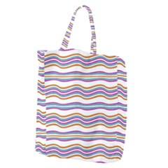 Colorful Wavy Stripes Pattern 7200 Giant Grocery Zipper Tote