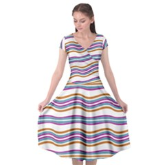 Colorful Wavy Stripes Pattern 7200 Cap Sleeve Wrap Front Dress