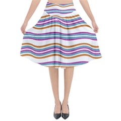Colorful Wavy Stripes Pattern 7200 Flared Midi Skirt