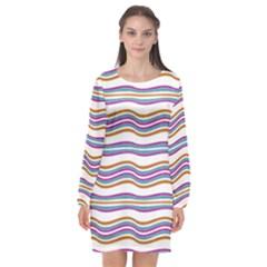 Colorful Wavy Stripes Pattern 7200 Long Sleeve Chiffon Shift Dress