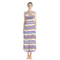 Colorful Wavy Stripes Pattern 7200 Button Up Chiffon Maxi Dress