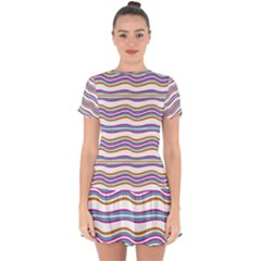 Colorful Wavy Stripes Pattern 7200 Drop Hem Mini Chiffon Dress