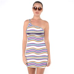 Colorful Wavy Stripes Pattern 7200 One Soulder Bodycon Dress
