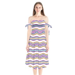 Colorful Wavy Stripes Pattern 7200 Shoulder Tie Bardot Midi Dress