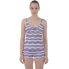 Colorful Wavy Stripes Pattern 7200 Tie Front Two Piece Tankini