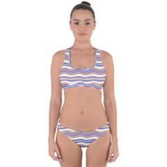 Colorful Wavy Stripes Pattern 7200 Cross Back Hipster Bikini Set