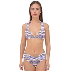 Colorful Wavy Stripes Pattern 7200 Double Strap Halter Bikini Set