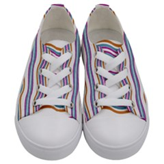 Colorful Wavy Stripes Pattern 7200 Kids  Low Top Canvas Sneakers