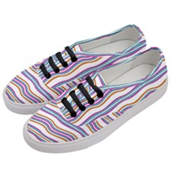 Colorful Wavy Stripes Pattern 7200 Women s Classic Low Top Sneakers by dflcprints