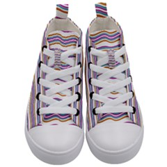 Colorful Wavy Stripes Pattern 7200 Kid s Mid Top Canvas Sneakers