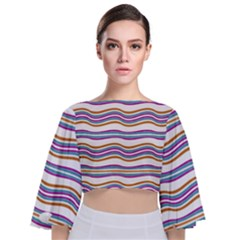 Colorful Wavy Stripes Pattern 7200 Tie Back Butterfly Sleeve Chiffon Top