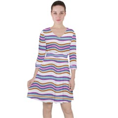 Colorful Wavy Stripes Pattern 7200 Ruffle Dress