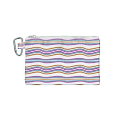 Colorful Wavy Stripes Pattern 7200 Canvas Cosmetic Bag (small)