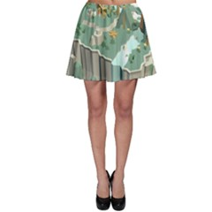 Camping Low Poly 3d Polygons Skater Skirt
