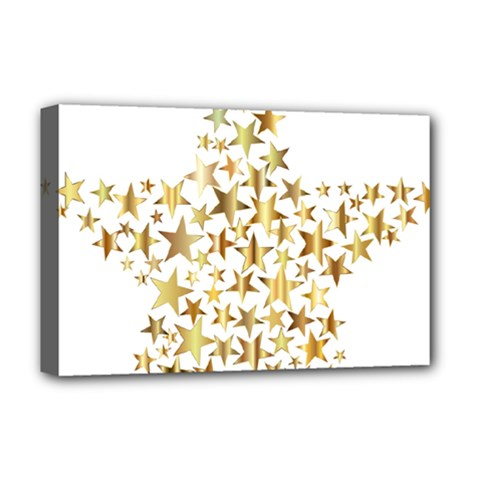 Star Fractal Gold Shiny Metallic Deluxe Canvas 18  X 12