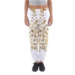 Star Fractal Gold Shiny Metallic Women s Jogger Sweatpants