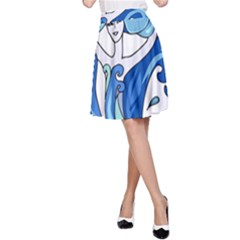 Abstract Colourful Comic Characters A Line Skirt