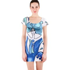 Abstract Colourful Comic Characters Short Sleeve Bodycon Dress