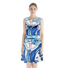Abstract Colourful Comic Characters Sleeveless Waist Tie Chiffon Dress