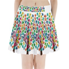Tree Share Pieces Of The Puzzle Pleated Mini Skirt