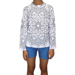 Floral Flower Mandala Decorative Kids  Long Sleeve Swimwear