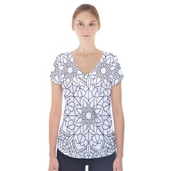 Floral Flower Mandala Decorative Short Sleeve Front Detail Top