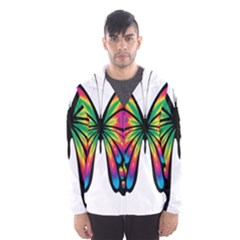 Abstract Animal Art Butterfly Hooded Wind Breaker (men)