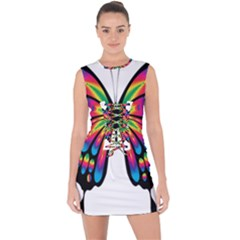 Abstract Animal Art Butterfly Lace Up Front Bodycon Dress